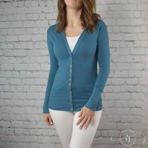 Bay Blue Button Up Cardigan
